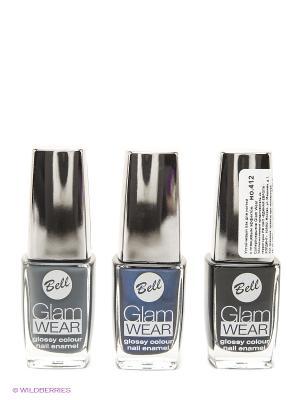 Bell  Спайка ( лак с глянцевым эффектом glam wear тон 412 + 503 504). Цвет: черный, синий, серый