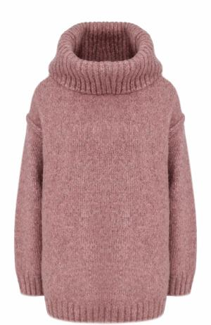 Шерстяной свитер с объемным воротником Acne Studios. Цвет: розовый