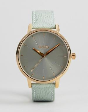 Nixon Часы с зеленым кожаным ремешком Kensington. Цвет: зеленый