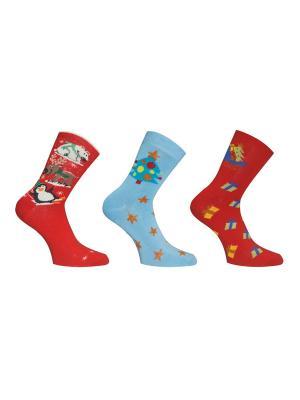 Носки 3 пары Master Socks. Цвет: голубой, красный