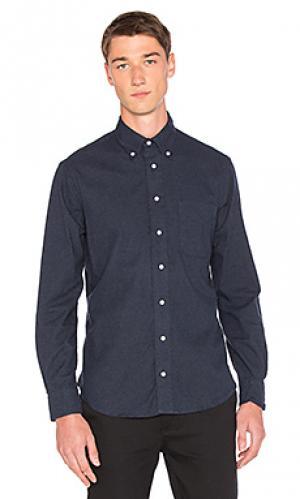 Классическая фланелевая рубашка на пуговицах Gitman Vintage. Цвет: синий