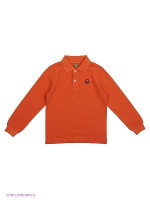 Лонгслив-Поло United Colors of Benetton. Цвет: оранжевый, синий, серый меланж