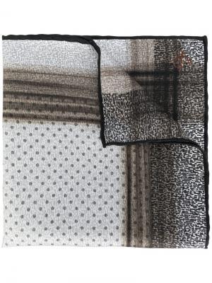 Платок с мелким принтом Canali. Цвет: коричневый