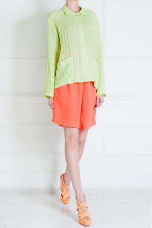Салатовая шелковая рубашка Tzipporah. Цвет: пастельный салатовый