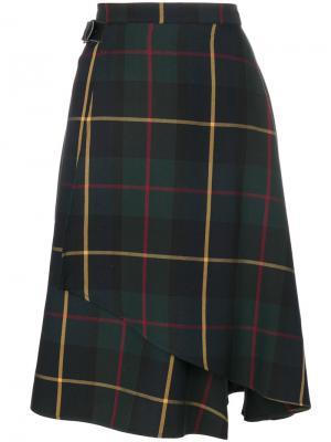 Расклешенная юбка с принтом тартан Manoush. Цвет: зелёный