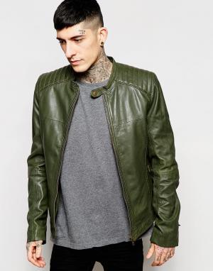 Goosecraft Байкерская кожаная куртка. Цвет: leaf green
