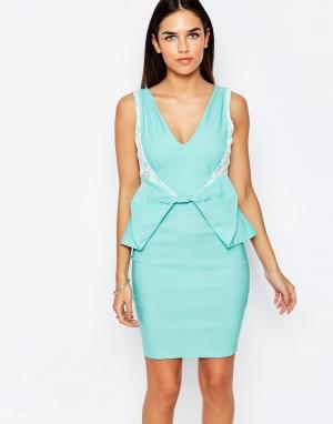 Vesper Платье-футляр с бантом Rayna. Цвет: зеленый