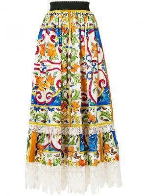 Кружевная юбка Dolce & Gabbana. Цвет: многоцветный
