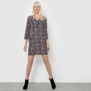 Платье прямого покроя из струящейся ткани BEST MOUNTAIN. Цвет: черный наб. рисунок