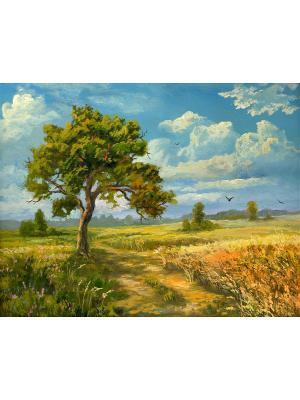 Картина Дерево в поле Ecoramka. Цвет: синий, коричневый, светло-голубой