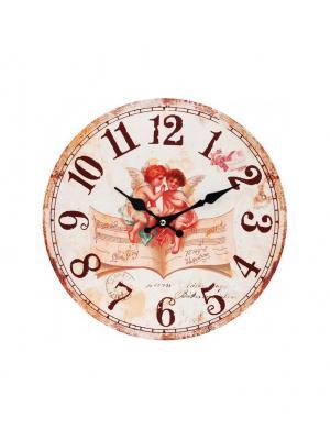 Часы настенные Музыка ангелов, диаметр 34 см (127-CL) Белоснежка. Цвет: кремовый, бежевый, бледно-розовый