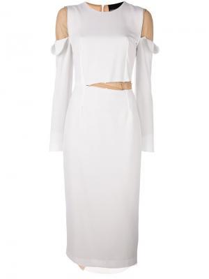 Платье Gillian с длинными рукавами Erika Cavallini. Цвет: белый