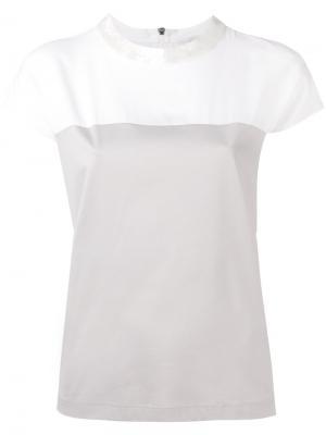 Двухцветная футболка Fabiana Filippi. Цвет: телесный