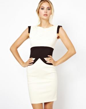 Кружевное платье с контрастным поясом  Ollie Tempest. Цвет: белый