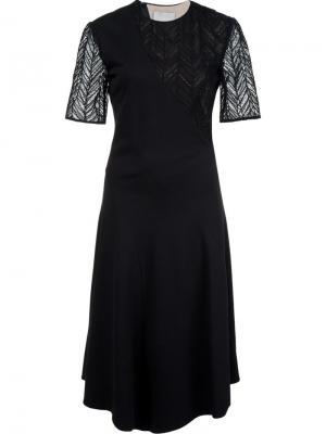 Платье с кружевными вставками и поясом Jason Wu. Цвет: чёрный