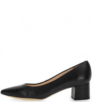 Остроносые кожаные туфли на устойчивом каблуке UNISA. Цвет: черный