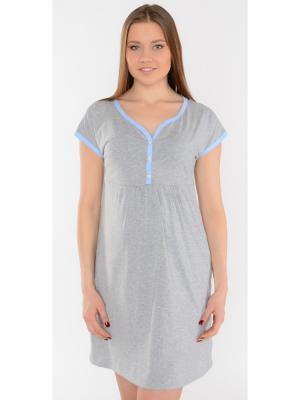 Ночная сорочка Ням-Ням. Цвет: голубой, серый меланж