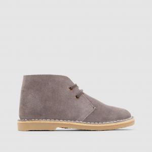 Ботинки кожаные на шнуровке R essentiel. Цвет: серый,темно-бежевый,темно-синий