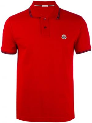 Рубашка-поло с отделкой в полоску Moncler. Цвет: красный