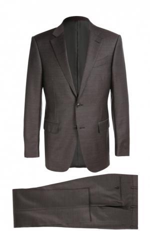 Приталенный костюм из фактурной шерсти Ermenegildo Zegna. Цвет: темно-фиолетовый