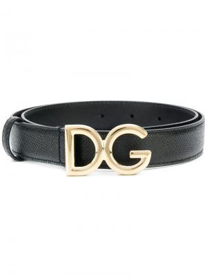 Ремень с пряжкой логотипом Dolce & Gabbana. Цвет: чёрный