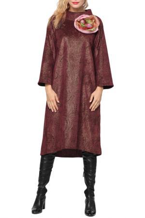 Свободное платье с длинным рукавом Kata Binska. Цвет: бордовый, золотой