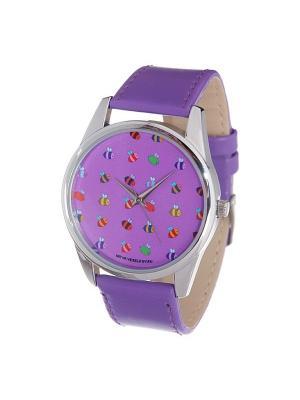 Часы Mitya Veselkov Много пчелок. Цвет: фиолетовый