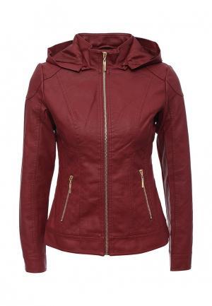 Куртка кожаная Adrixx. Цвет: бордовый