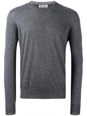 Пуловер с круглым вырезом Brunello Cucinelli. Цвет: серый