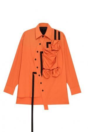 Оранжевая рубашка с большими карманами Yuzhe Studios. Цвет: оранжевый