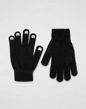 ASOS Перчатки со светящимися в темноте когтями. Цвет: черный