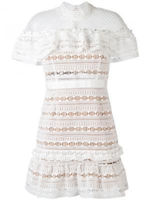 Кружевное мини-платье Self-Portrait. Цвет: белый