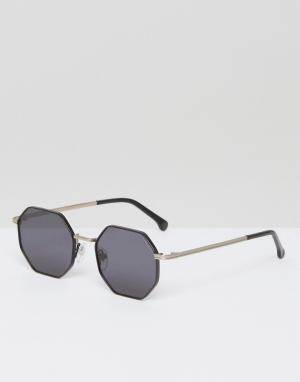 Komono Солнцезащитные очки с шестигранной оправой Monroe. Цвет: черный