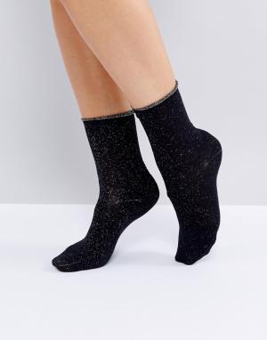Selected Блестящие носки. Цвет: черный