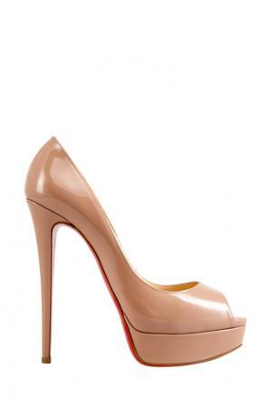 Туфли из лакированной кожи Lady Peep 150 Christian Louboutin. Цвет: nude
