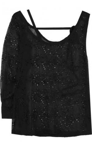 Блуза из смеси шелка и вискозы асимметричного кроя Ann Demeulemeester. Цвет: черный