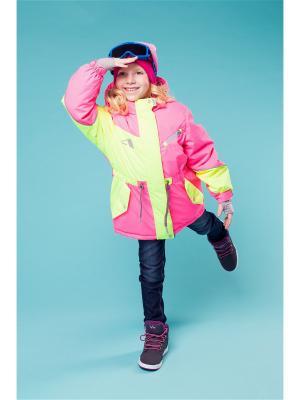 Куртка Oldos. Цвет: розовый, желтый