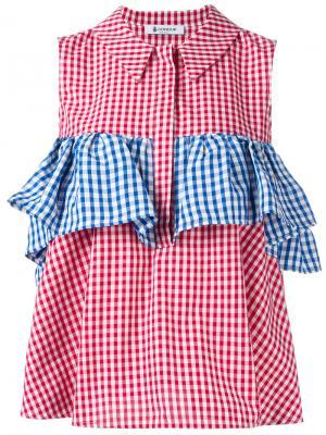 Блузка с оборками в клетку Dondup. Цвет: none