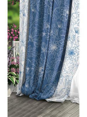 Штора (1 шт.), Волшебная ночь, 220*270см., ткань-Блэкаут, стиль-Прованс, дизайн-Emma ночь. Цвет: синий, белый