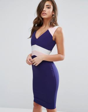 Vesper Платье-футляр в стиле колор блок. Цвет: темно-синий