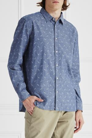 Рубашка с рисунком Edun. Цвет: голубой