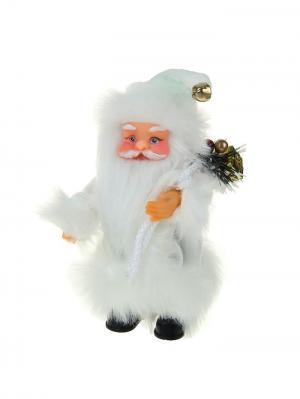 Дед Мороз  музыкальный в пушистой белой шубке с подарком, 22см А М Дизайн. Цвет: кремовый