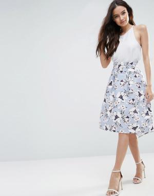 Vesper Трапециевидная юбка миди с цветочным принтом. Цвет: синий