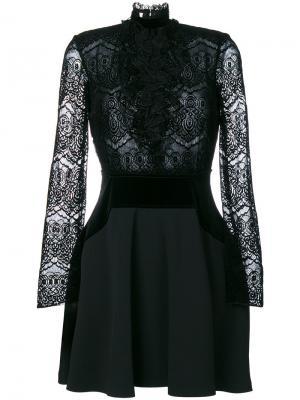 Кружевное платье мини с оборками Giamba. Цвет: чёрный