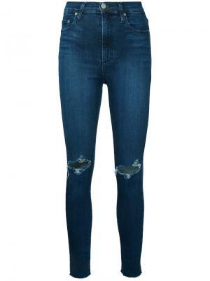 Укороченные облегающие джинсы Siren Nobody Denim. Цвет: синий
