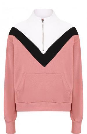 Хлопковый свитер с воротником-стойкой Wildfox. Цвет: розовый