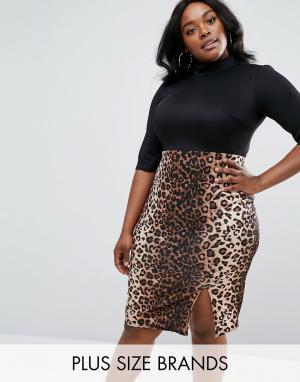 Club L Plus Платье-футляр с высокой горловиной и леопардовым принтом на юбке. Цвет: черный