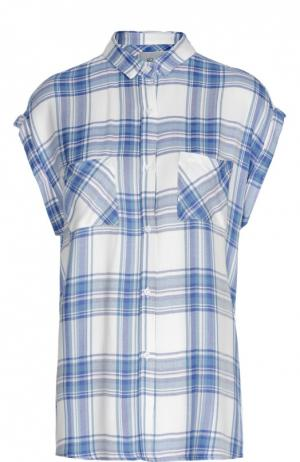 Блуза в клетку без рукавов с накладными карманами Rails. Цвет: голубой