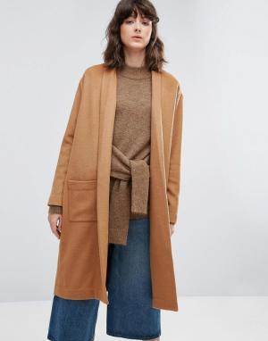 Weekday Трикотажное пальто без застежек. Цвет: бежевый