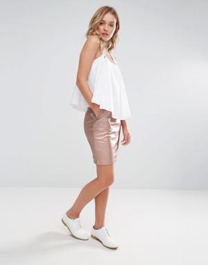 Neon Rose Мини-юбка с отделкой металлик. Цвет: золотой
